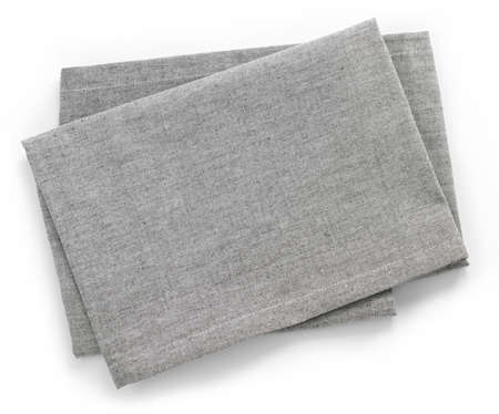 table top view: Folded grey cotton napkin isolated on white background top view
