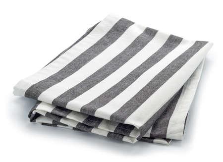 dishcloth: Folded striped cotton napkin isolated on white background