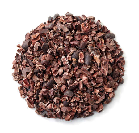 Circle of cacao nibs isolated on white background Stock Photo