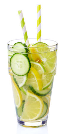 Glass of cucumber, lemon, lime detox water isolated on white background Stock Photo