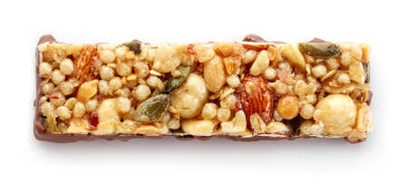 Granola bar with chocolate isolated on white background