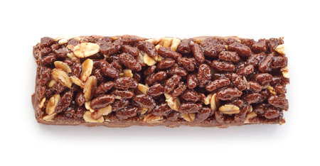 bars: Granola bar with cocoa isolated on white background Stock Photo