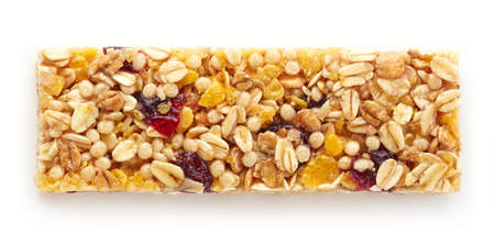 cereal bar: Granola bar with berries isolated on white background