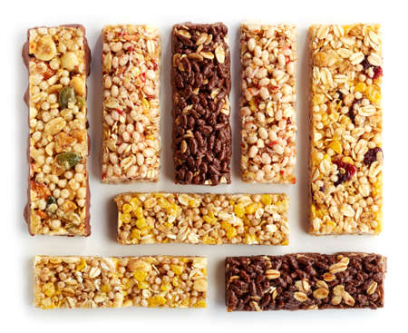 fruit bars: Various granola bars isolated on white background