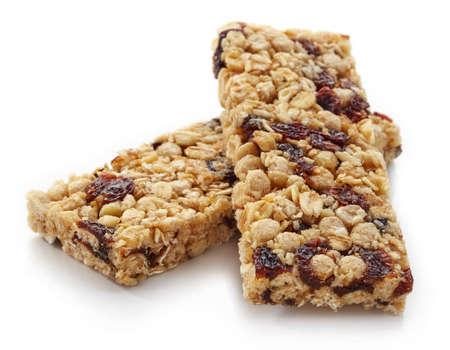 granola bar: Granola bar with raisins isolated on white background