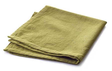 white napkin: Green cotton napkin isolated on white background Stock Photo