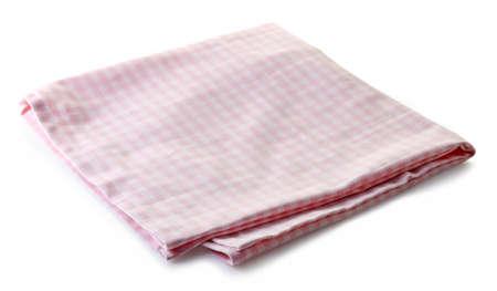 tela blanca: Servilleta de algodón de color rosa aisladas sobre fondo blanco Foto de archivo