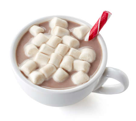 candy stick: Cup of hot cocoa with marshmallows and candy stick isolated on white background