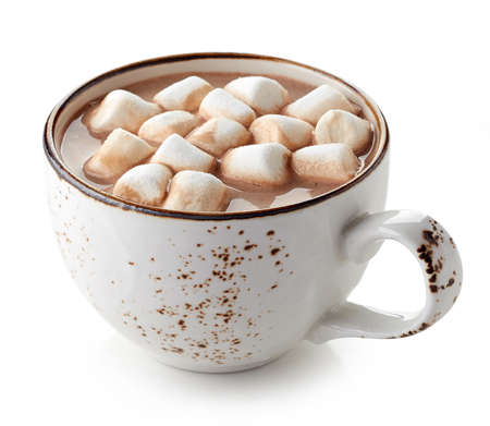 Cup of hot cocoa with marshmallows isolated on white background Stock Photo