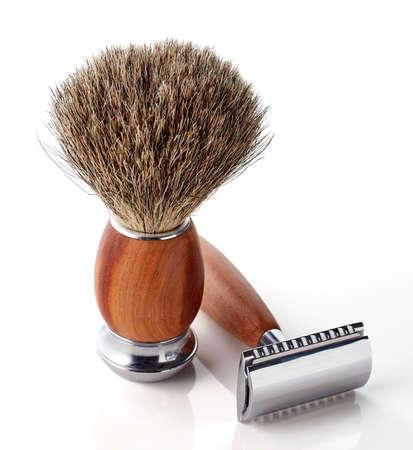 shaver: Wooden shaving razor and brush isolated on white background Stock Photo