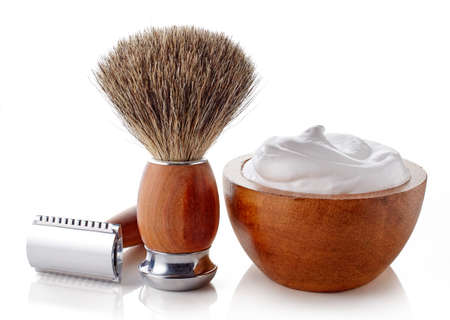 Wooden shaving accessories isolated on white background 写真素材
