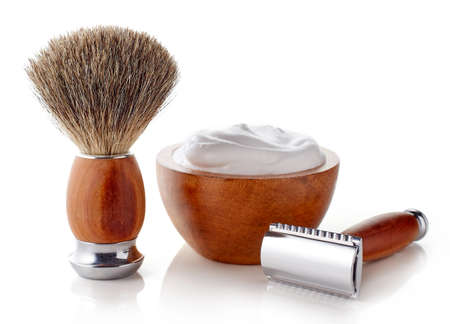 white beard: Wooden shaving accessories isolated on white background Stock Photo
