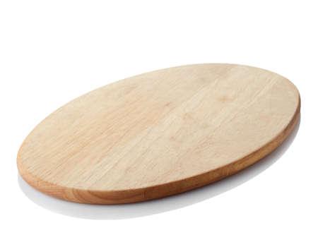 Brown round drewniana tnąca deska odizolowywająca na białym tle. Ścieżka przycinająca Zdjęcie Seryjne