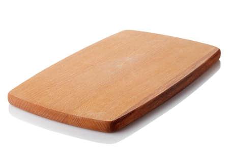servilleta de papel: tabla de cortar de madera marrón aisladas sobre fondo blanco. trazado de recorte