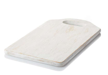 White wooden cutting board isolated on white background. clipping path