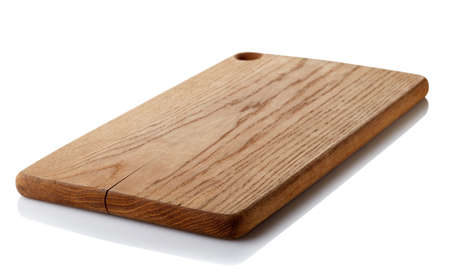 Brown wooden cutting board isolated on white background. Clipping path