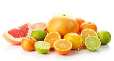 Various fresh citrus fruits isolated on white background Imagens