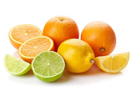 citrus: Various fresh citrus fruits isolated on white background