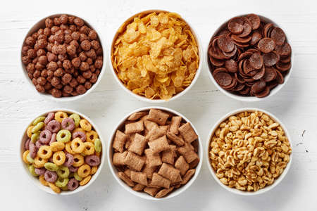 Bowls of various cereals from top view 스톡 콘텐츠