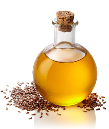 linseed oil: Bottle of linseed oil isolated on white background