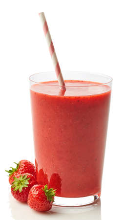 Glass of fresh healthy strawberry smoothie isolated on white background