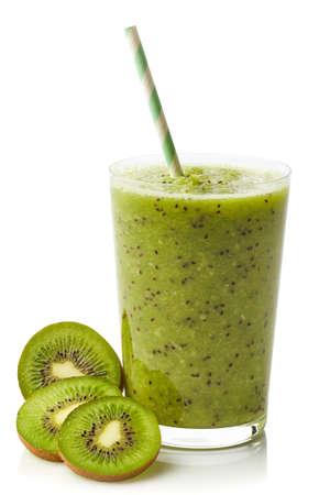 kiwi: Glass of fresh healthy kiwi smoothie isolated on white background