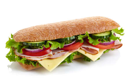 Fresh submarine sandwich with ham, cheese, tomatoes, cucumbers, lettuce and onions isolated on white background Stockfoto
