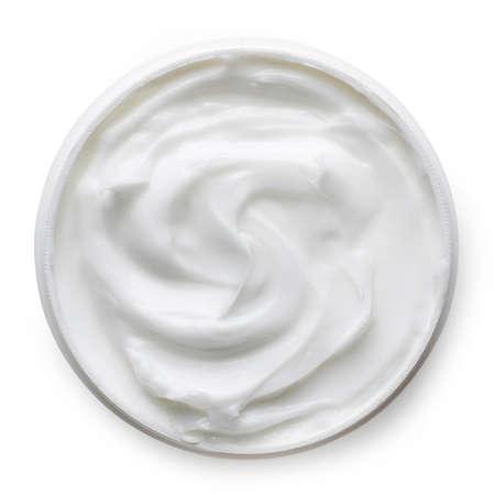 상위 뷰에서 흰색 배경에 고립 화장품 크림 용기