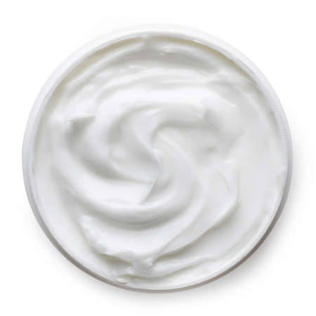 cosmetics products: Cosmetic cream container isolated on white background from top view
