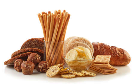 Gluten free food. Various snacks and bread isolated on white background.