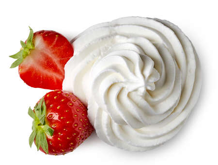 Whipped cream and strawberries isolated on white background. From top view