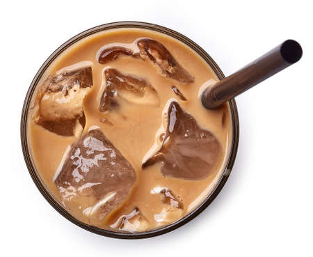 Glass of ice coffee isolated on white background from top view
