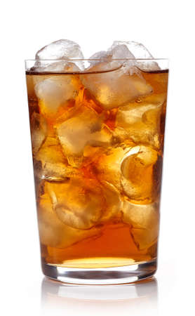 Glass of lemon ice tea isolated on white background Stockfoto