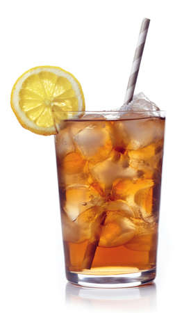 Glass of lemon ice tea isolated on white background 写真素材
