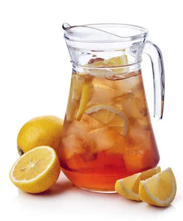 Pitcher of lemon ice tea isolated on white background Zdjęcie Seryjne
