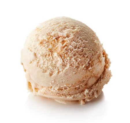 Caramel ice cream ball isolated on white background
