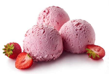 Three pink strawberry ice cream balls isolated on white background