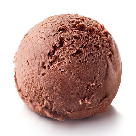 One brown chocolate ice cream ball isolated on white background