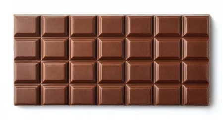 상위 뷰에서 흰색 배경에 고립 된 밀크 초콜릿 바