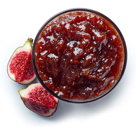 Bowl of fig jam isolated on white background from top view Stock Photo - 88163993