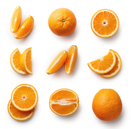 Set of fresh whole and cut orange and slices isolated on white background. From top view Фото со стока - 88608635