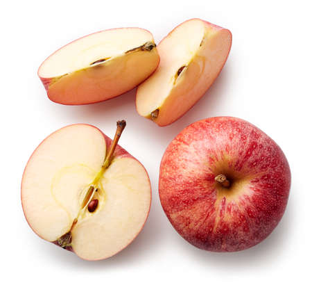 Fresh whole apple and slices isolated on white background. From top view