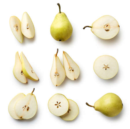 Set of fresh whole and cut pear and slices isolated on white background. From top view