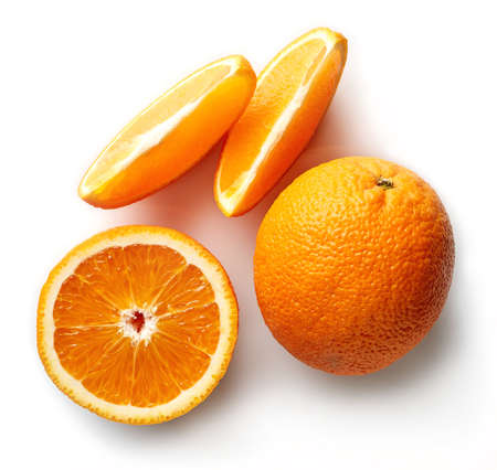 Fresh whole orange and slices isolated on white background. From top view 스톡 콘텐츠