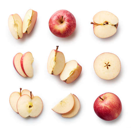 Set of fresh whole and cut apple and slices isolated on white background. From top view Standard-Bild