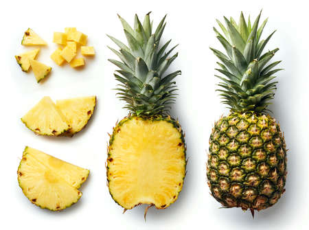 Fresh whole and cut pineapple isolated on white background. From top view 免版税图像
