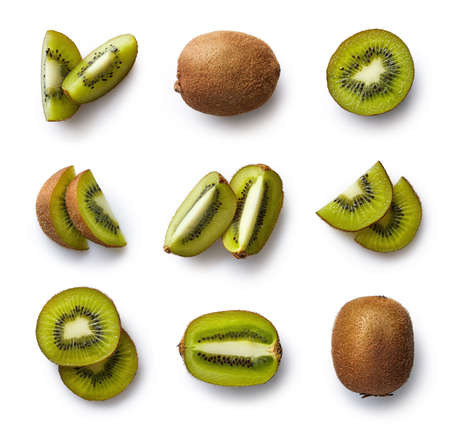 Set of fresh whole and cut kiwi and slices isolated on white background. From top view 스톡 콘텐츠