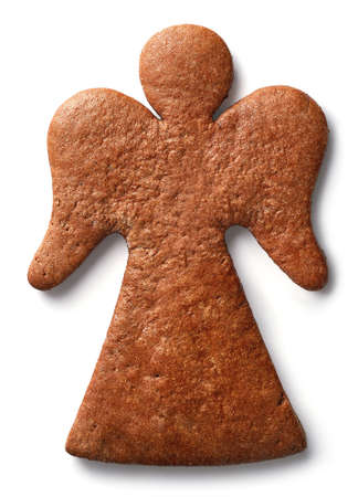 Angel shaped gingerbread cookie isolated on white background Stock Photo