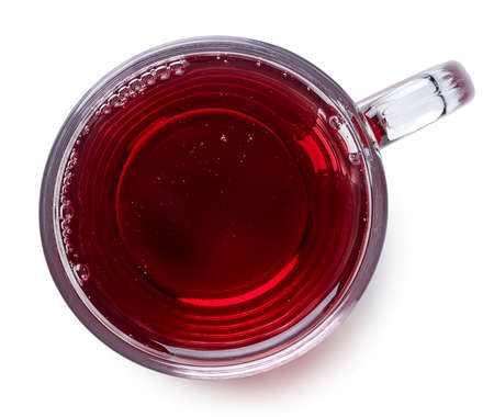 Glass of hot mulled wine  isolated on white background. Top view