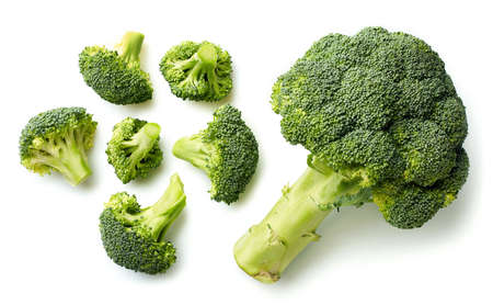 Fresh broccoli isolated on white background. Top view 스톡 콘텐츠